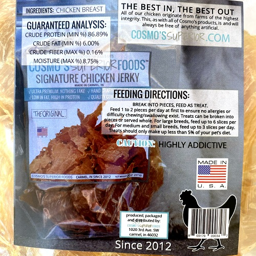 Cosmos chicken jerky back package